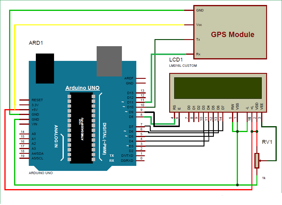 GPS updated clock using arduino circuit diagram